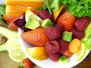 Bowl of fresh fruits and veggies