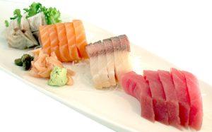 Slides of sushi tuna shashimi