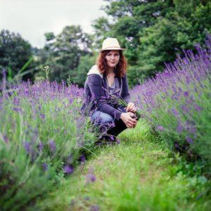 Person in a lavender farm