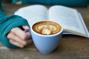 Person read with a latte