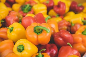 Orange, red, and yellow peppers