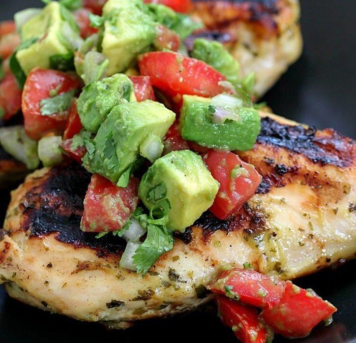 cilantro lime chicken with avocado salsa