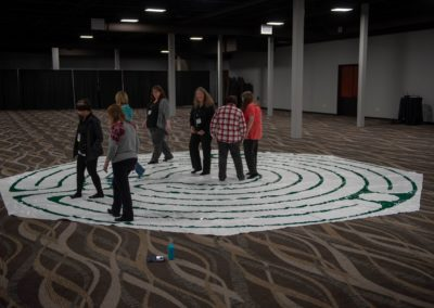 People walking through the mindfulness maze
