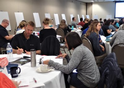 Table of people taking notes at the wellness conference