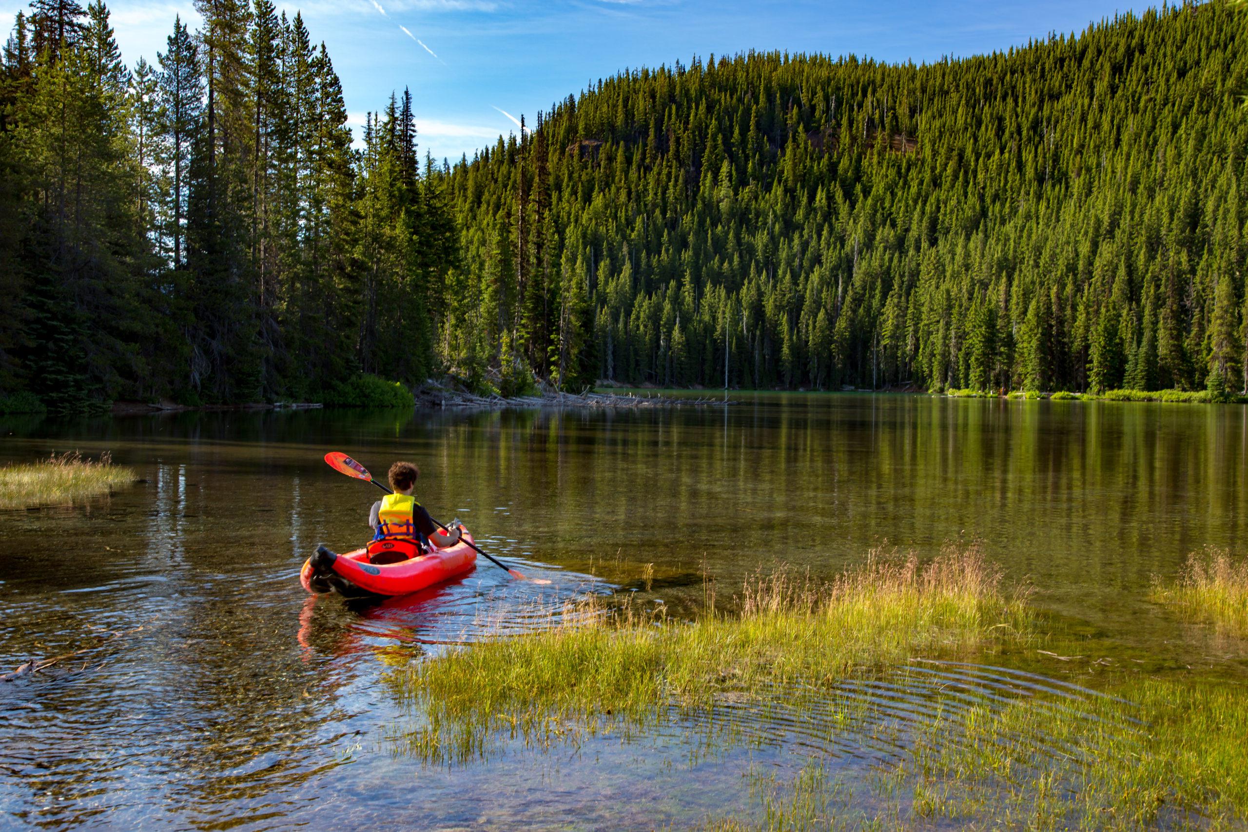 Person Kayaking Devils Lake